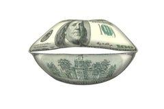 Bocca dei soldi, concetto dei colloqui dei soldi Fotografia Stock Libera da Diritti