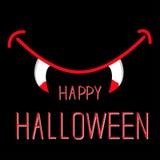 Bocca del vampiro con le zanne. Carta di Halloween. Fotografia Stock