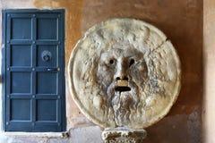 Bocca della verità in Rome. La Bocca della Verità (the mouth of truth) is an image, carved from marble, of a man-like face, located in the portico of the Royalty Free Stock Photo