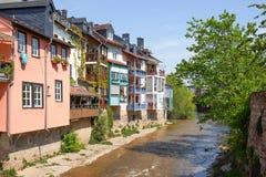 Bocca di Bach di Ellerbach a Bad Kreuznach e vista di vecchia CIT Fotografia Stock Libera da Diritti