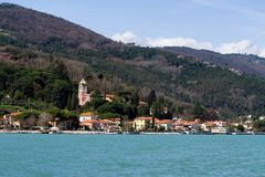 Bocca di Magra, Marinella view. Bocca di Magra village on a sunny spring day. Spring in Lunigiana, north Tuscany, Italy Royalty Free Stock Image
