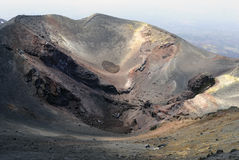 Bocca Nuova. The Bocca Nuova crater in the Etna volcano has become one of the main lava outlet. Sicily, Italy Stock Photos