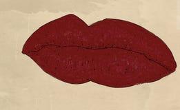 bocca rossa della donna con rossetto Fotografie Stock Libere da Diritti