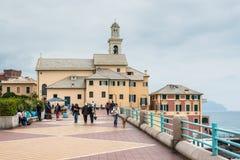 Boccadasse,在热那亚的郊区一个渔村有它的t的 免版税库存图片
