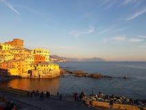 Boccadasse,热那亚一个小海区  库存图片