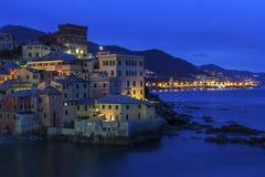 Boccadasse - alte Nachbarschaft der italienischen Stadt von Genua Stockfotos