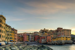 Boccadasse at the dawn. Boccadasse, a small sea district of Genoa, during the dawn Royalty Free Stock Photography