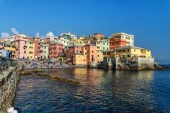 Boccadasse is small fishing village in Genoa. Italy stock images