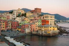 Boccadasse, a small sea district of Genoa, during the twilight Royalty Free Stock Photos