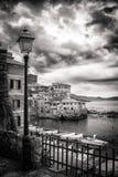 Boccadasse, small village by the mediterranean sea in Genoa, photo in black and white. stock photos