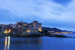 Boccadasse - vecchia vicinanza della città italiana di Genova Fotografia Stock