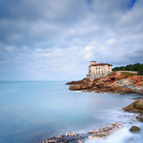 Boccale castle landmark on cliff rock and sea. Tuscany, Italy. L Stock Images
