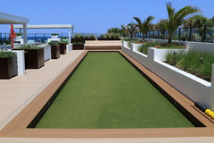 Bocce Ball court with artificial turf. Royalty Free Stock Images