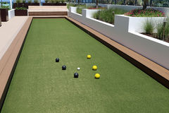 Bocce Ball court with artificial turf. Royalty Free Stock Image
