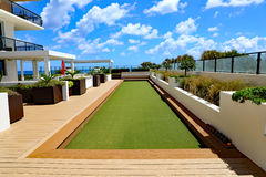 Bocce ball court with artificial turf Royalty Free Stock Photos