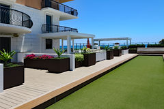 Bocce Ball Court and Terrace Stock Images