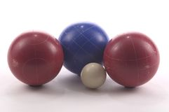 Bocce Balls. 3 large balls anf the smaller ball from a set of Bocce balls, photographed on a white background Stock Images