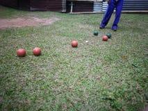 Bocce-Bowlingspiel stockfotografie
