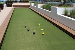 Bocce piłki sąd z sztuczną murawą Obraz Royalty Free