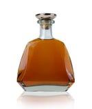 Boccetta del brandy del cuoio e dell'oro Immagini Stock