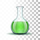 Boccetta trasparente del laboratorio chimico con verde Immagine Stock Libera da Diritti