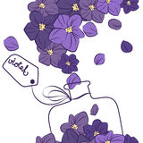 Boccetta viola di progettazione del profumo del fiore fotografia stock