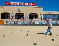 Bocci che è giocato in Bugibba, Malta Fotografia Stock Libera da Diritti