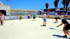In Bocci sport club of Bugibba, Malta. BUGIBBA, MALTA - JUNE 14, 2018: The bocci club is the best place to enjoy Maltese version of bowls/boules sport activity stock footage