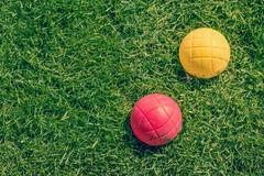 Boccia garden game on the lawn Stock Image