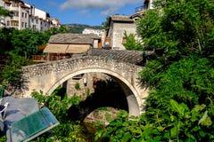 Bochtige Brug, Mostar, Bosnië-Herzegovina royalty-vrije stock afbeelding