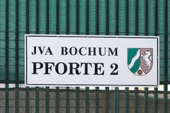 Jva bochum sign in bochum germany. Bochum, North Rhine-Westphalia/germany - 09 11 18: jva bochum sign in bochum germany stock photography