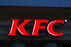 Bochum, North Rhine-Westphalia/germany - 02 11 18: KFC sign on an building in bochum germany in the evening. Bochum, North Rhine-Westphalia/germany - 02 11 18 royalty free stock images