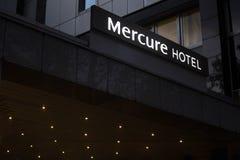 Mercure hotel light sign in bochum germany royalty free stock photo