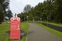 Bochum (Tyskland) - Ruhr Valley cykelslinga på behållaren Kemnade Royaltyfri Foto