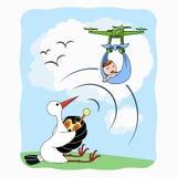 Bocianowy przewożenia dziecko z quadrocopter Zdjęcie Royalty Free