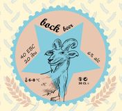 Bock beer label with a goat and wheat signs Royalty Free Stock Photos