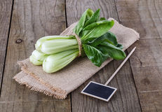 Bock Choy on a rustic wooden background Stock Image