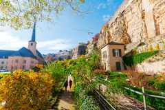 Bock Cliff in Luxembourg City. Bock Cliff with casemates in the city of Luxembourg City Royalty Free Stock Photography