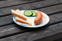 Bock sausage on a plate royalty free stock photos