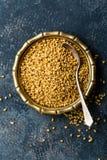 Bockhornsklöverfrö på metallplattan, krydda, kulinarisk ingrediens royaltyfria foton