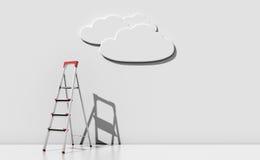 Bockleiter gegen eine Wand mit einer Wolke lizenzfreie abbildung