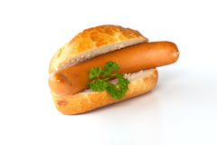 Bockwurst - Wurst, Brot und Petersilie Stockfotografie