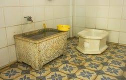 Boczna zbliżenie toaleta w wiejskim Thailand Fotografia Stock