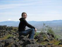 boczne kobieta góry Fotografia Royalty Free