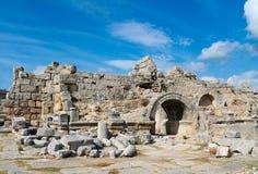 Boczne starożytnego grka miasta ruiny Zdjęcia Royalty Free