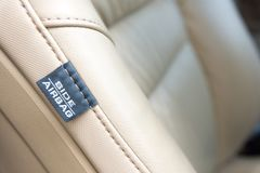 Bocznego samochodu Airbag etykietka Nowożytna Samochodowa bezpieczeństwo cecha zdjęcia stock