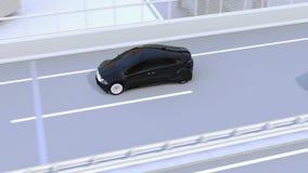 Bocznego widoku asysty system unika wypadek samochodowego gdy zmieniający pas ruchu zbiory wideo
