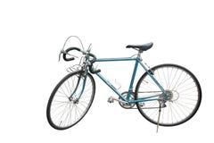 Bocznego widoku Di rżnięty błękitny Stary bicykl na białym tle, kopii przestrzeń obrazy stock