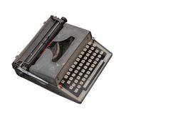 Bocznego widoku Di rżnięty stary maszyna do pisania na białym tle, przedmiot, kopia fotografia stock