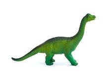 Bocznego widoku zieleni brachiosaurus zabawka na bielu Obraz Royalty Free